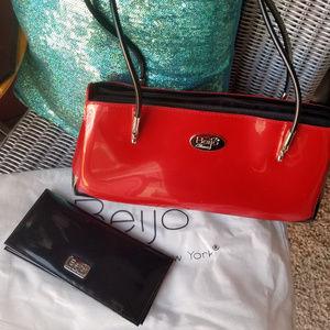 BEIJO Uptown Red Patent Satchel w/matching wallet